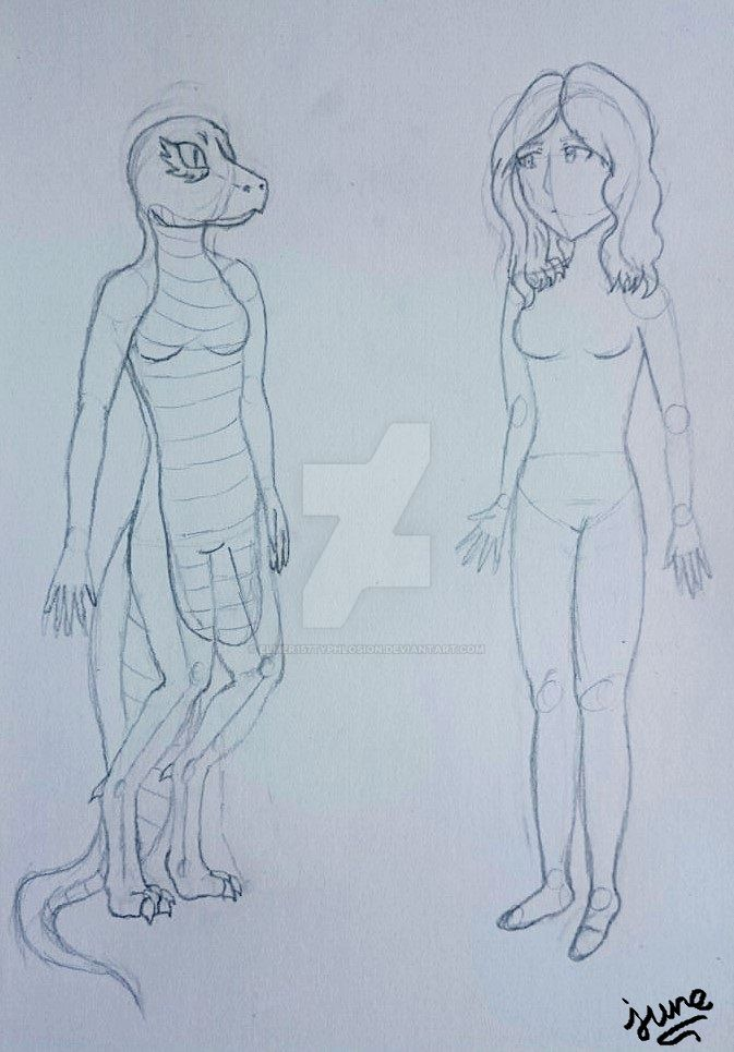 Furry and human body sketch #3 by Elmer157Typhlosion