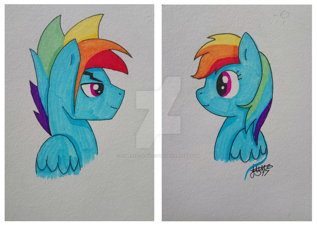 Gender bender: Rainbow Blitz and Rainbow Dash by Elmer157Typhlosion