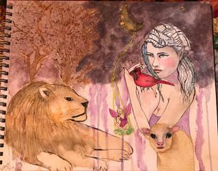 Lion Lamb and Cardinal