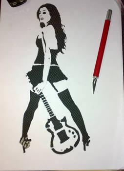 guitar girl stencil..