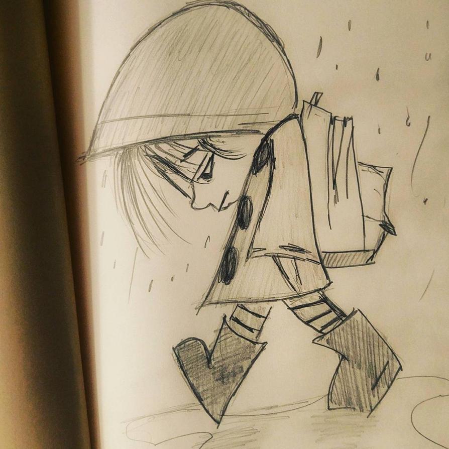 child in rain  by flesheatingbug