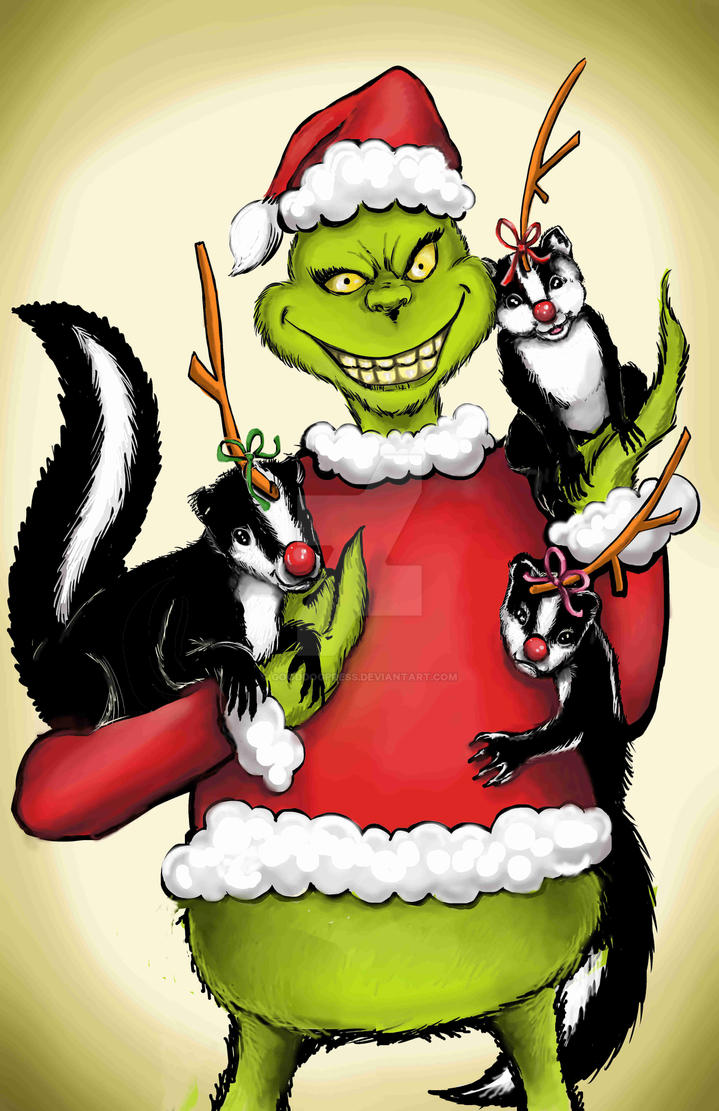 Grinch Christmas card with Stink,Stank,and Stunk by GoodDogPress