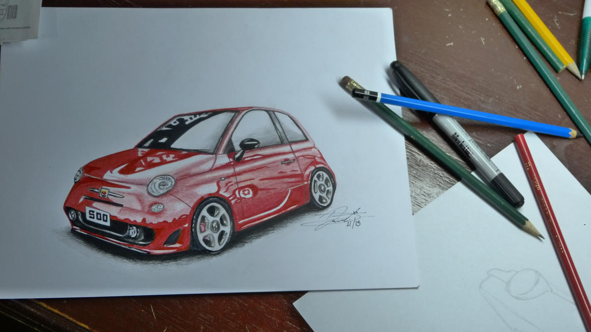 Fiat 500 Abarth My First Car Drawing By Dareksig On