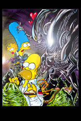 Alien Vs Simpsons by jlfletch