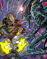 Simpsons vs Aliens vs Predator by jlfletch