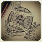 Broken compass tattoo design