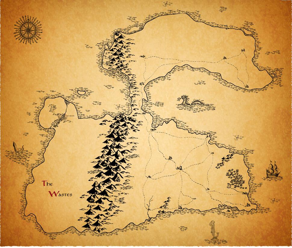 Map of Tamerlyn, 2nd WIP by pentaclegram