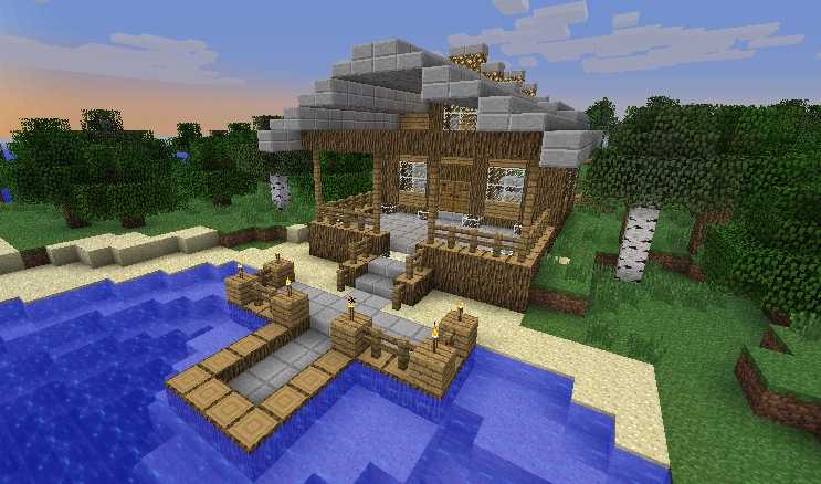 Minecraft beach house outside by it itches on deviantart for Beach house designs minecraft