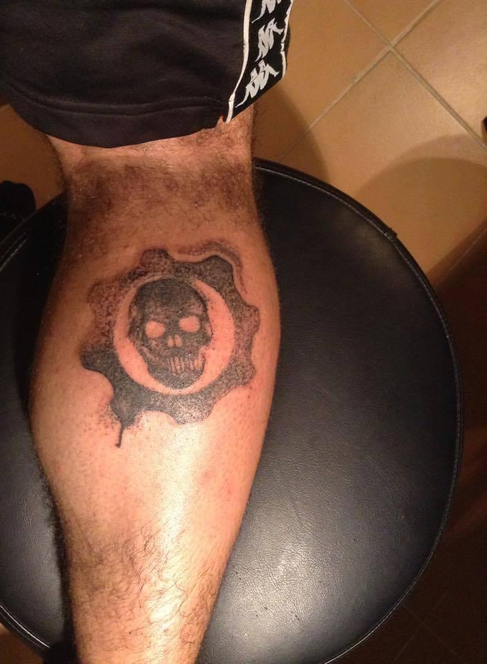 gears of war logo tattoo dotwork by slaveaddams on DeviantArt