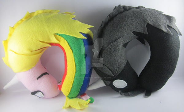 Lady Rainicorn and Lord Monochromicorn Neck Pillow by LittleCritters00