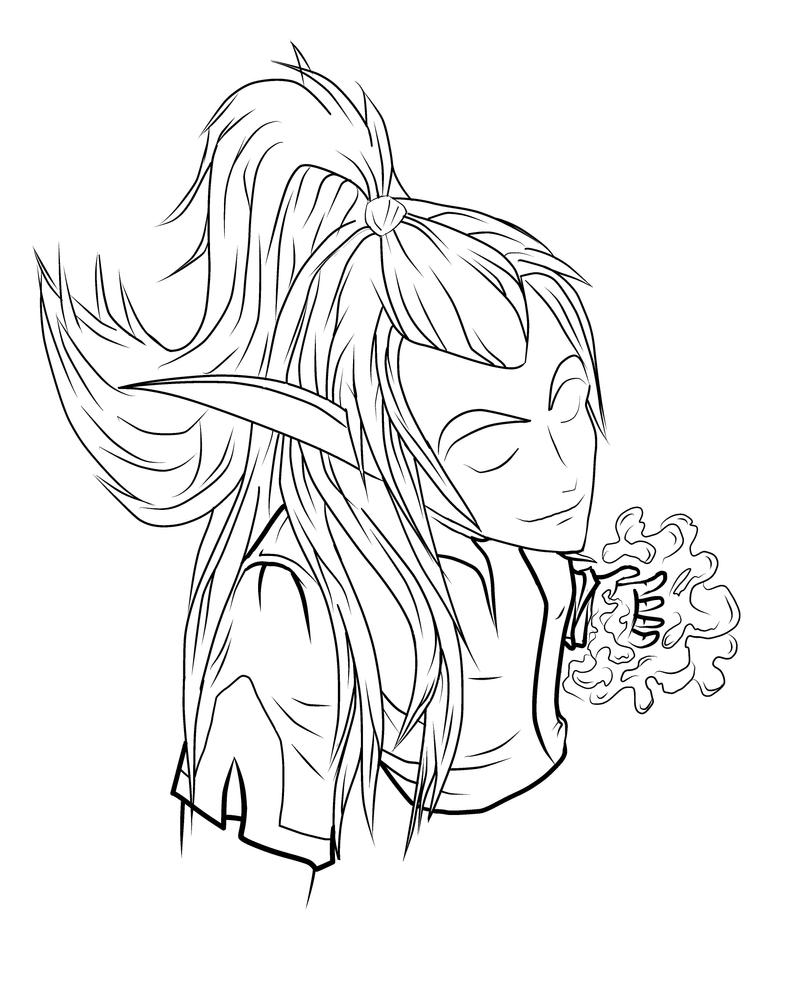 Warcraft: Elf Mage lineart by MpakC on DeviantArt