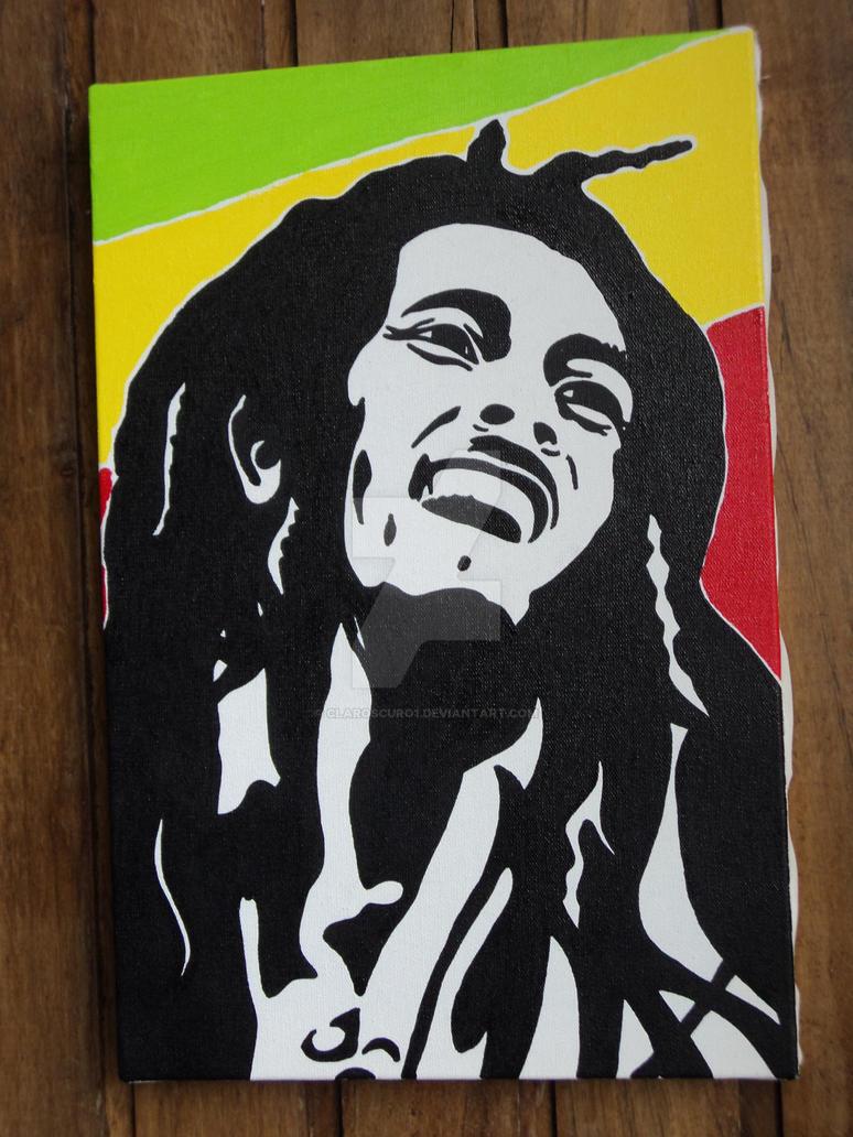Bob Marley Stencil Painting Pop Art By Claroscuro1