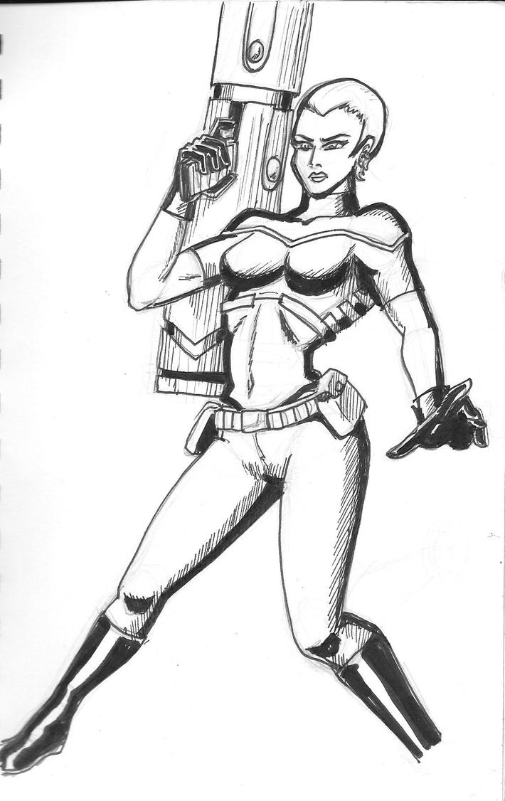 Warrior Babe With Gun by Arcumus-Prime