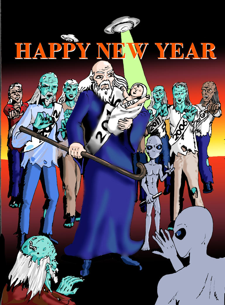 happy new year zombie attack by Arcumus-Prime