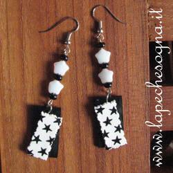 earrings stars black and white