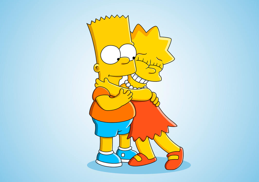 Lisa hugging Bart by alexchexes