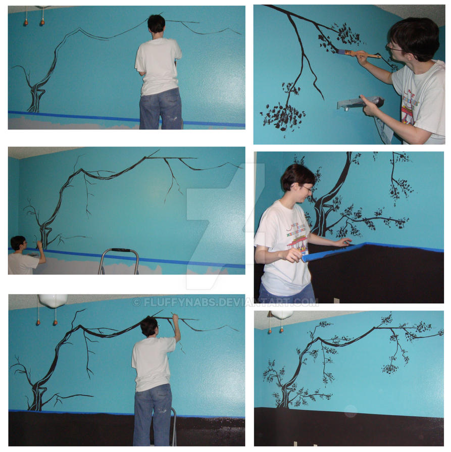 Cherry tree mural by fluffynabs on deviantart for Cherry tree mural