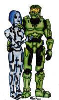 Master chief and Cortana by Lilikwee