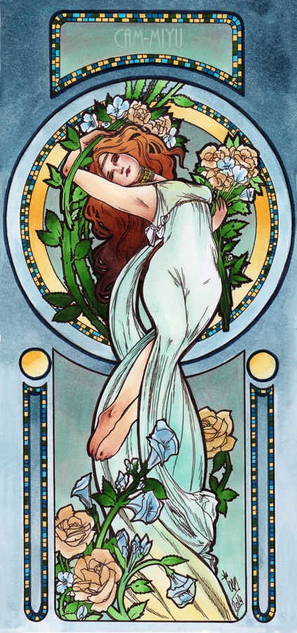 Blue Flower Art Nouveau by cam-miyu