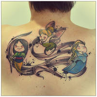 Tink, Mulan and Elsa Tattoo