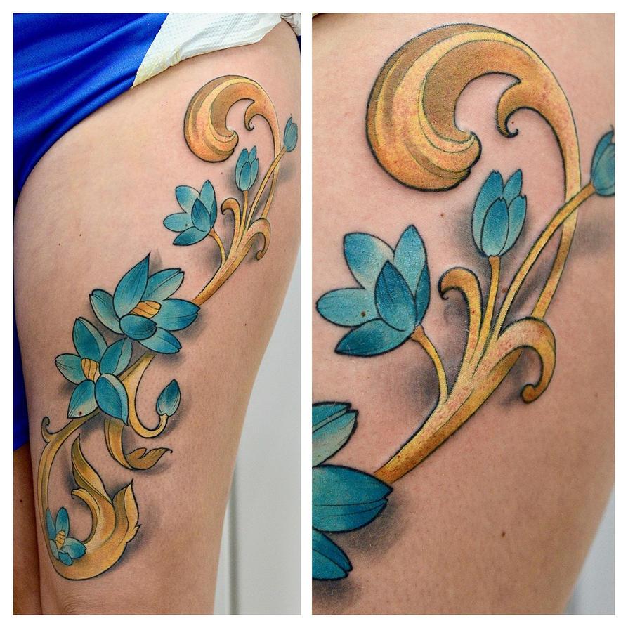Art Nouveau Tattoo by cam-miyu