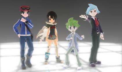 MMD Pokemon Protagonists DL Off by Jakkaeront