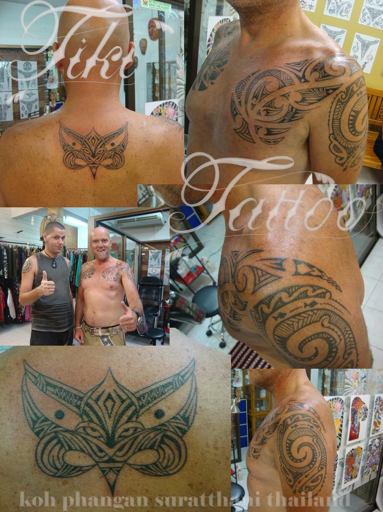 Maori style tiki and chest - chest tattoo