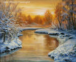 Winter landscape - sunset