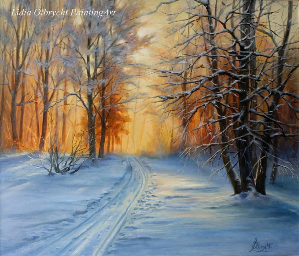 Winter, Forest, Sunset by Lidmar
