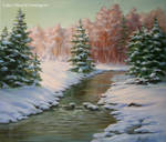 Winter Landscape - Brook/ oil painting on canvas