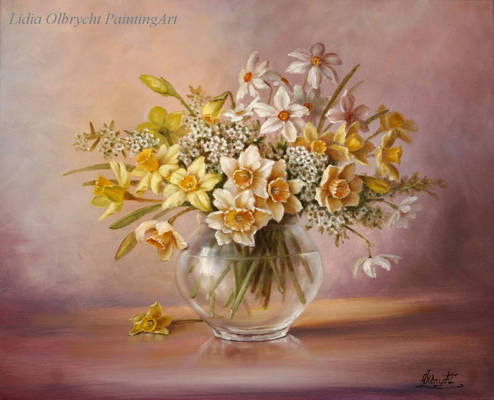 Narcissi / Oil painting on canvas