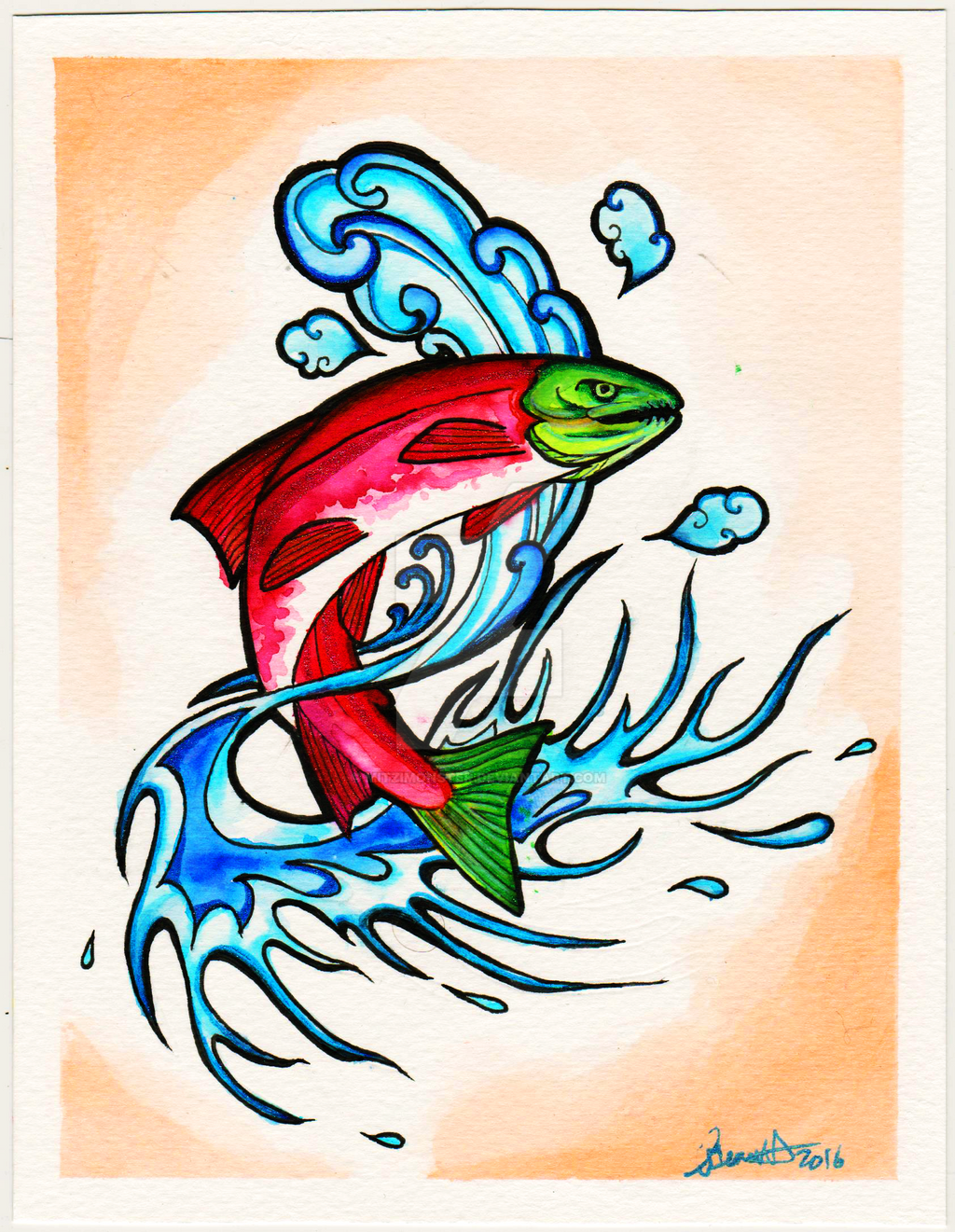 Alaskan sockeye salmon tattoo by mitzimonster on deviantart for Alaska tattoo shops