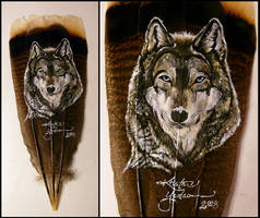 Snow Wolf - Feather Painting by dittin03