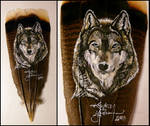Snow Wolf - Feather Painting