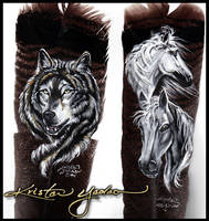 Two Feathers: wolf and horses