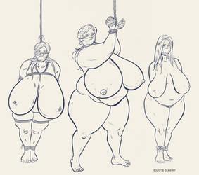 Sketch: Three Buxom Piggies by renderedspeechless