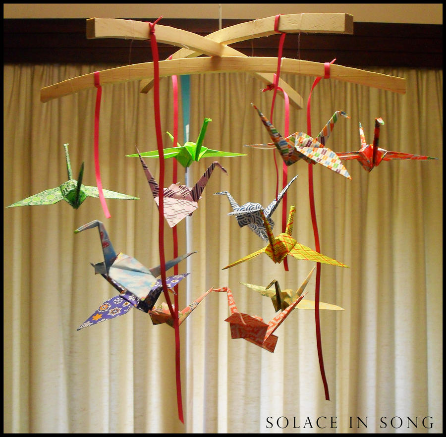 origami crane mobile by solaceinsong on deviantart