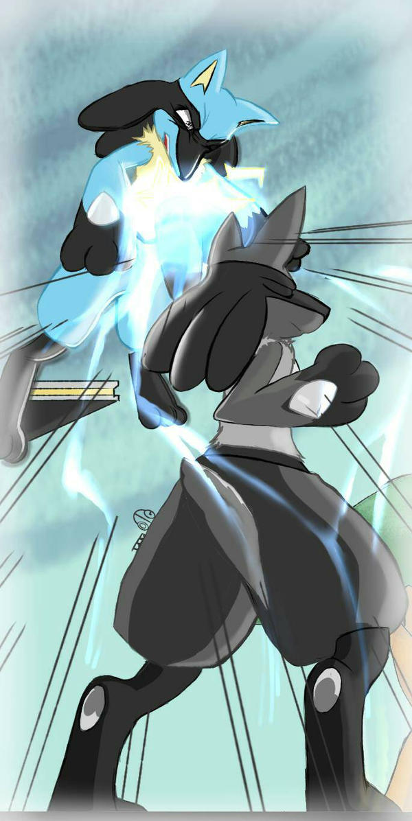 Shadow Fight (Lucario v. Shiny Lucario) by ThatOtherGuy19