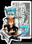 Chibi neko Grimmjow with neko Ichigo plushie ID by blackstorm