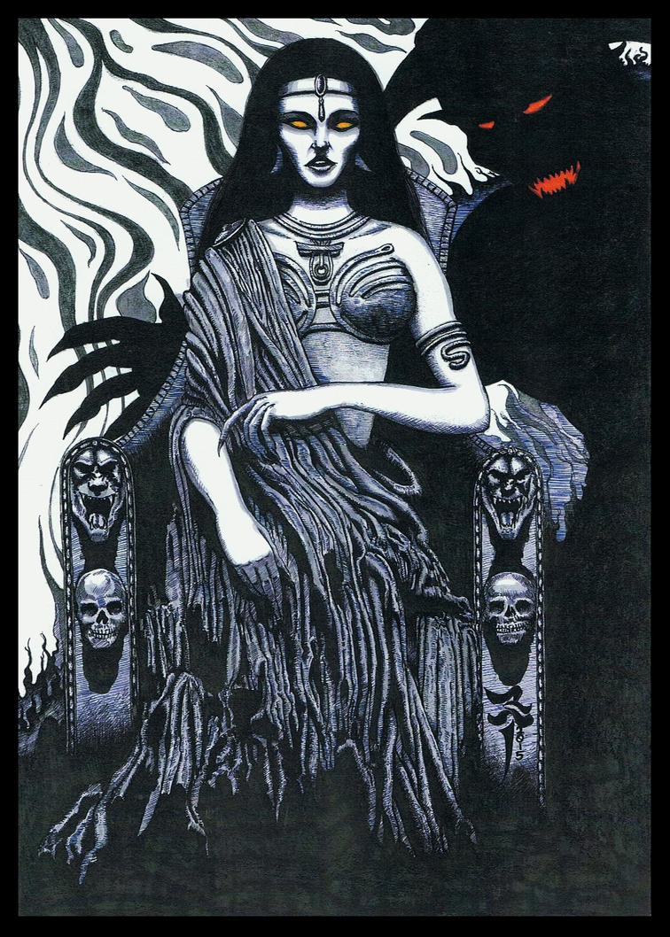 The Ghoul Queen - black  white ink version - 2015 by StonedSmeagol