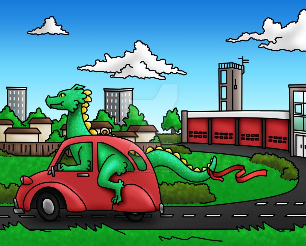 Dragon Driving a Car Commission by Miltonholmes