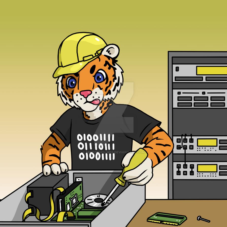 Tech Tiger Maintains a PC by Miltonholmes