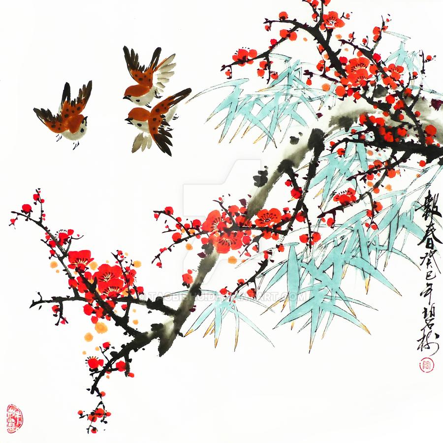 Chinese Wash Painting Red Plum Flowers by TaoBishu