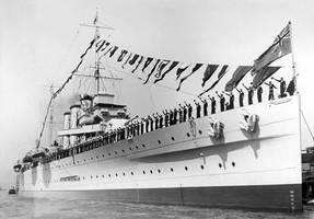HMAS Australia 1928 and Saluting Crew Sydney 1 by lichtie
