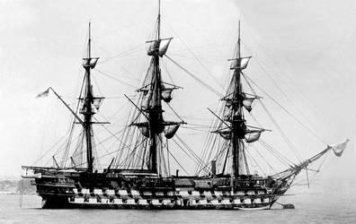 HMS London 1840 on Bouy at Zanzibar c1876 copy