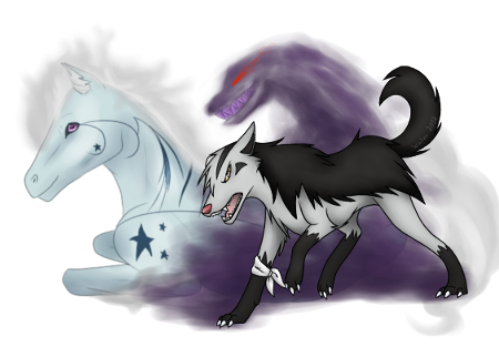 Stavros the Cursed Mightyena and Haruko the Shiny Ponyta daughter of Armonia(Victory, Kanto) Double_char_by_danielle995-d54rn44