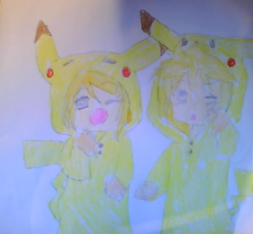 My  Beautiful Drawings :33 Pikachu_rin_and_len_by_coolapril-d5q39je