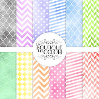 Seamless Watercolor Patterned Digital Papers by KaipheArt
