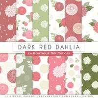 Red Dahlias Digital Paper by KaipheArt