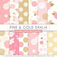 Pink and Gold Dahlias Digital Paper by KaipheArt